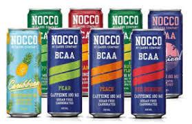 imagen de todos los refresocs de Nocco que existen en el mercado